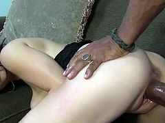 This horny, sexy Asian girl needs two guys at once so she has her white husband join in when she brings a black guy home to fuck.
