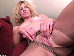 Solo blonde mom masturbates in sheer pantyhose