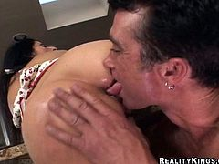 Curvaceous Latin MILF plays with her pussy lying on a table. Then she sits on guy's face and gives him a blowjob. She also gets fucked in her vagina and ass.
