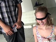 We like our girls slutty and with no self esteem, girls such as Cadence. This one is a cute bitch with a pretty smile that's getting wider when she sees a big cock. Cadence now has to play a little game that involves a blindfolded and for her to kneel. She does that blindfolded and sucks a big cock.