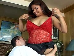 This chubby latino slut is always ready for some hardcore action no matter where. She takes his dong into her experienced mouth and then into her horny cunt.