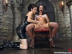 Tied on the chair with her legs spread, mouth gagged and wet, our french cutie Melissa is learning her lesson. She was a dirty little cunt and the mistress makes sure she regrets that and gets clean. The mistress takes her from that chair and hangs the slut upside down, fingers her cunt and prepares her for faze two