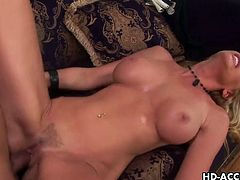 Matures HD brings you an amazing free porn video where you can see how the curvy and wild blonde milf Nicole Sheridan gets fucked hard and deep into a superb orgasm.