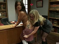 Pretty Jynx Maze gets spanked and then toyed with a vibrator by Aiden Starr in dean's office. Then this brunette babe gets tied up and toyed with a strap-on on a table.