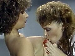 Curly retro beauties are needy to stimulate eachother's wet vags during vintage lesbian show