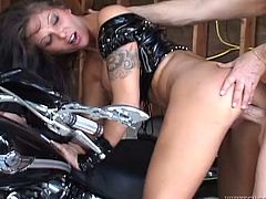 He has a damn fast bike and damn huge cock! Ana Nova loves bikers for their bravery! So, she spreads her legs and he fucks her on his bike!