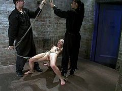 Isis Love is having fun with submissive blonde Lorelei Lee. Isis attaches clothespegs to Lee's body and then fucks her snatch to orgasm with a dildo.