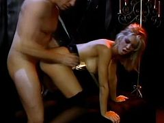 Gorgeous blonde Brooke Banner shows her smooth pussy to some guy and allows him to eat it. Then she stands on all fours and gets her pussy pounded doggy style.