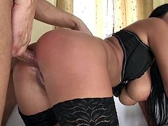 Big tits raven feels amazing with two strong cock drilling her in threesome action