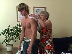 Granny Dagmar is in the house, watering her plants but it's her pussy that needs to get wet! Luckily for her, she accidentally pours some water on this guy! Grandma then welcomes him in the house and soon she discovers that the dude wants to fuck her! Well, she just can't miss such an opportunity!
