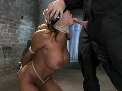 Curvaceous chick with a stocking on her head gets tide up by a master. Later on she also gives a blowjob standing on her knees.