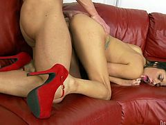 A naked chick in high heels is something special! Gigi Loren is her named and she is sucking her man's cock for the further wild development!