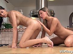 Prepare to blow your mind and your cock! These babes are superb and they are about to show us more then only their bodies. Such beautiful angels are playing like dirty sluts and make a big mess with their piss! Up on the kitchen table the girls piss everywhere and have some passionately pussy licking!