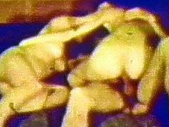 Slutty dolls are sharing a big cock in one nasty vintage threesome porn session