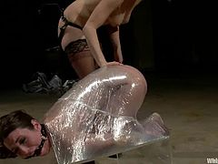 Brunette girl gets whipped and clothespinned by her blonde mistress. Then Serena licks Lorelei's pussy and gets toyed hard.