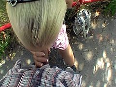 This hot blonde babe loves money and sex.And when over guy offers her hard cash, she melts like a ice and gets ready to suck that big cock even in public places.Enjoy the hot fuck outdoor show!