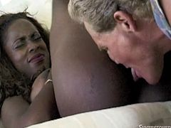 This guy never had a black girl but today is his lucky day! Midori is as black as it gets and she feels naughty! The whores goes inside the house with him where she spreads her legs and offers the guy a sweet, black cunt. He eats her pussy and then she kneels to suck his white dick. Damn, look at those black lips!