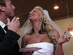 Phoenix and Ryan just got married and are about to slice their wedding cake. They agreed there would not be any cake face smashing shenanigans Phoenix feeds Ryan the without without putting it through his face but, Ryan decided he would go with Johnny�s advice and and smear it all over her. Phoenix gets upset and runs off to the other room and Jada her best friend decides to go check on her. Johnny feeling guilty decides he should go check on her too. While he is standing there, Phoenix and Jada decide reverting back to their college lesbian days would make this a better day. Johnny who is a