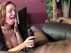 That dude comes in her office unknowing that she is a big nympho. She start sucking deeply his huge dong before he has nailing her wet pussy.