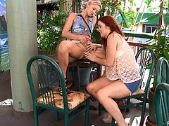 Take a look at this hot scene where these naughty ladies give you a boner as they show off their shaved pussies in public as well as eating one another.
