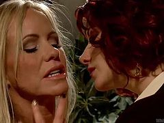A blonde and a redhead, both burning with lesbian desire are about to give us one hell of a show. The blonde is more submissive so she obeys the will of this devilish redhead that wants to do her ways with her. the redhead spanks and licks her ass before fingering that sensual mouth. these ladies are misbehaving!