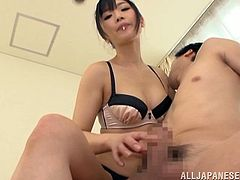 Take a look at this hot video where this horny Asian babe jerks this guy off until he cums all over her hands.