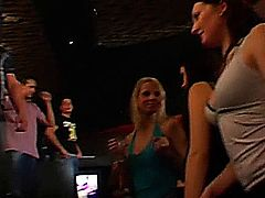 Naughty chicks sucking large dicks on their knees in a club in public
