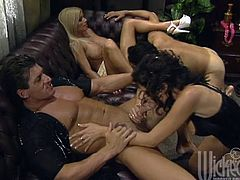 This dazzling FFMM orgy features two sizzling tattooed hotties, who get their big boobs and wet slits banged in every position thinkable.