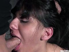 Beautiful brunette chick gets tied up by Derrick Pierce. Then she blows his big dick and gets her tight pussy fucked.