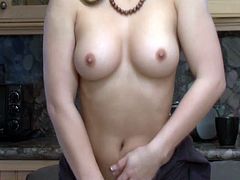 This hot chick always have a nice time in her kitchen. This time she shows her incredible body and fucks her tight wet cunt with a vibrator.