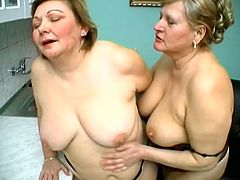 Mature blonde lesbians Anna and Yolanda are having some nice time in the kitchen. They kiss and pet each other and then show their pussy-eating skills.