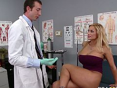 Horny doctors tells his patient to lie on the bed so he can check if everything is ok. He fingers her pussy tenderly and sensually. Then she makes him lick her swollen pussy. Horny gynecologist can't decline the offer. He licks it like a true cunt licker.