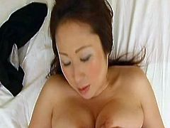 Eiko Kawai is a busty Japanese slut and she is always ready for some hardcore banging with a big cock. After her tight pussy got stretched she received a creampie.