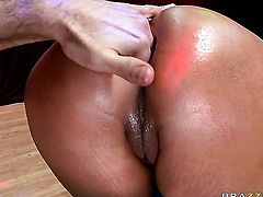 Nikita Denise with round bottom bounces on James Deens erect man meat in anal action