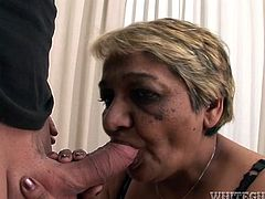Although she is an old woman she still knows how to fuck. She sucks her lover's stiff cock passionately to get it hard and ready. Then she rides him in reverse cowgirl position.