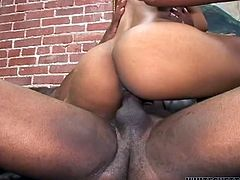 Chocolate babe with gorgeous curves rubs her big tits while black guy licks her bald pussy. Ebony babe starts shakig her moneymaker while riding that black meat pole like a cowgirl.