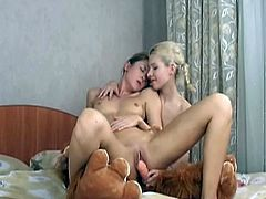 These two hot blonde teens make out and 69 before they pull out the dildos and fuck each other.