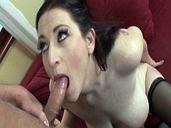 Watch these huge juicy big tits of this lusty milf, who is toying her tight pussy on the couch.But soon she is joined by a stud who fucks her tits and her shaved pussy hard and deep till he shoots his jizz all over her face.