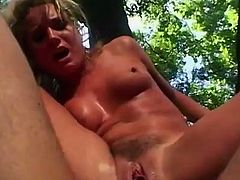 Flower Tucci is a super hot blonde who just wants cock! Brutal deepthroat, hug the tree and take it from behind, or put it up her butt and fuck till she squirts!