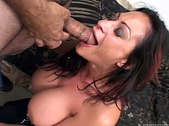 Just look at this sizzling and charming milf Ava Lauren! She goes for that huge cock with her mouth and then her tits shake, as he bangs her!