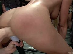 She's fucking hot but further more this blonde babe loves a dirty fuck and to be disgraced. Damn she's getting all the attention and cock she needs. Look at her, bent over, fingered and pussy rubbed while the guy fed her with his hard dick. What a beautiful slut, will she end up jizzed?