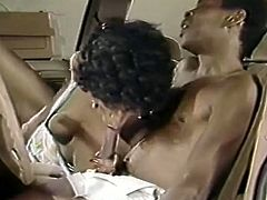This chocolate slut is a natural born cock sucker. She spreads her legs wide to let her lover get a taste of her delicious pussy. Horny dude can't decline the offer. He licks it passionately like a true cunt licker. Then she pleases him with a blowjob.