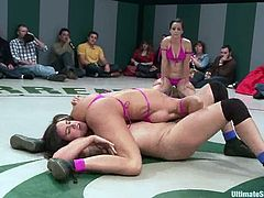 These incredible and juicy babes are going to team up in two and oppose each other. The team that loses will be fucked with toys!