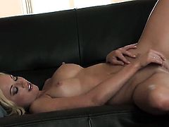 Kayden Kross gives a closeup view of her wet hole while masturbating with sex toy