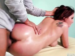 Ashley Graham with juicy jugs shows her love for ram rod sucking in blowjob action with Keiran Lee