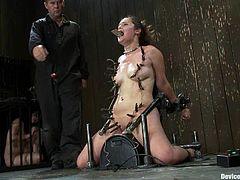 Slutty chick Charlotte Vale is having fun with Isis Love and some guy. Vale gets bound and beaten and then rides a fucking machine and shows off her cock-sucking talent.