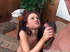 She gets on her knees, opens up wide and sucks him until he cums as he fires his sticky load into her very talented mouth.