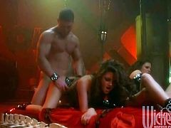 Lots of leather on display in this hardcore group sex video where they get down and dirty. Anything goes in this crazy VIP room
