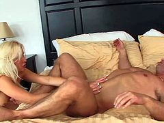 Young amateur blonde slut with delicious ass and slim hot body foes with dirty hunk John Strong to his place and gets tight twat drilled all over the bedroom.