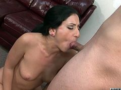 This sex-starved hottie has a strong desire to be fed with delicious sperm. She sucks her lover's stiff cock with unrestrained passion until he cums. Damn, what a filthy whore!